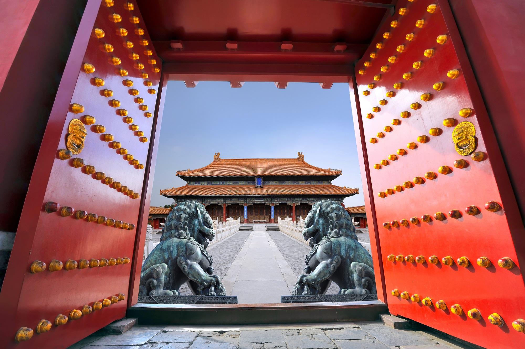 Puerta roja en China